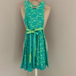 Aqua & Lime Lace Dress w Ribbon Sash.  7/8